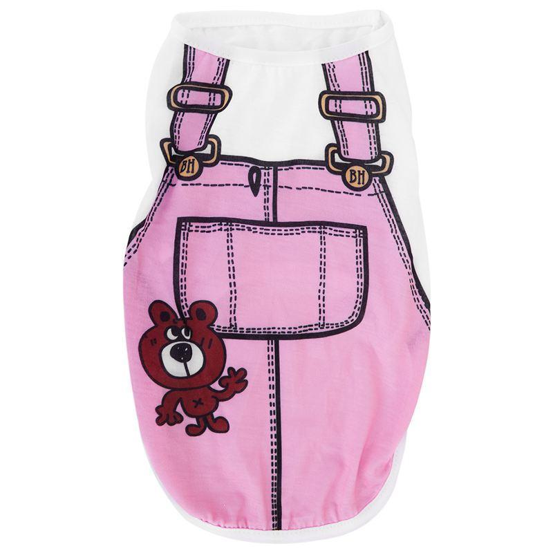 강아지 의상 T 셔츠 여름 라운드 넥 티 Playsuit 개 의류 의류 S 핑크 탑