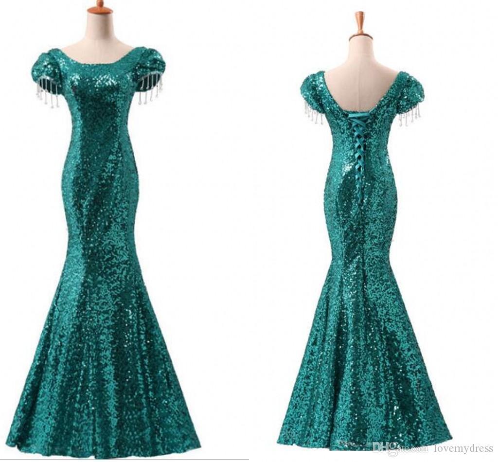 Emerald Green Sequins Satin Party Cocktail Dresses Evening Wear Beading Princess Short Sleeve Sheath Prom Formal Pageant Dress Vestidos De