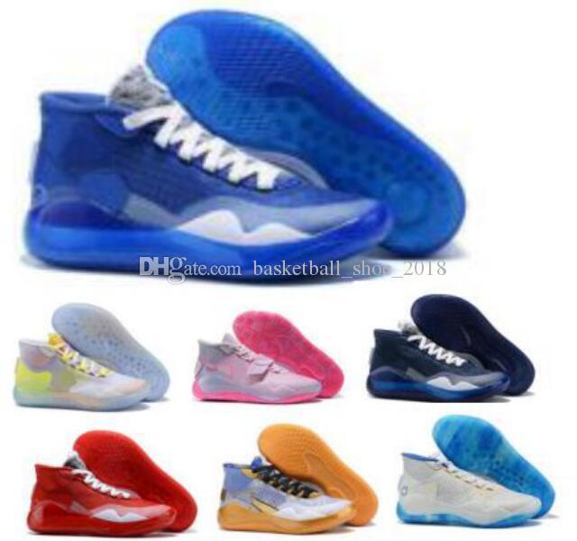 남성 케빈 듀란트 Kd를 12 개 농구 신발 이모 진주 복숭아 잼 전사 홈 EYBL 국민 12S 팀 은행 검은 색 2020 새로운 도착 운동화