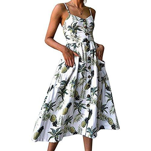 Adkinly Damenkleider-Sommer Floral Bohemian Spaghetti Strap Button-Down-Swing-Midi-Kleid mit Taschen
