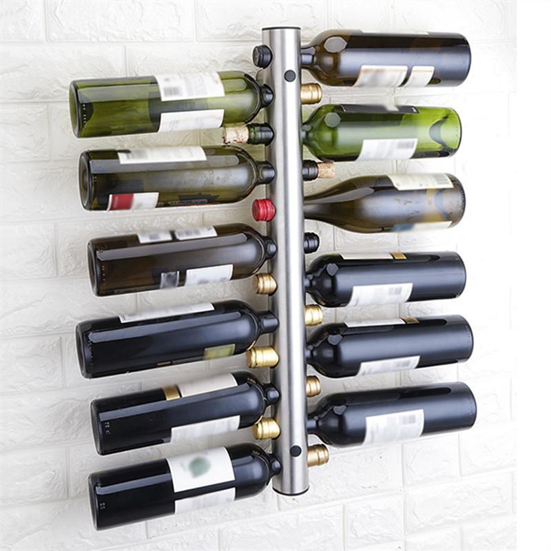 Yaratıcı Şarap tutucular 12 Delik Ev Bar Duvar Üzüm Şarap Şişe Tutucu Ekran Standı Raf Süspansiyon Depolama Organizatör Tanıtım Raf