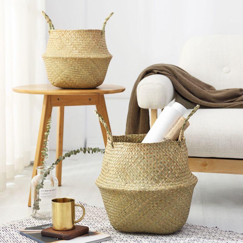 자연 바아 그래픽 스토리지 바구니 접는 꽃 파종기 냄비 수제 짚 고리 버들 등나무 세탁 피크닉 바구니 홈 정원 장식
