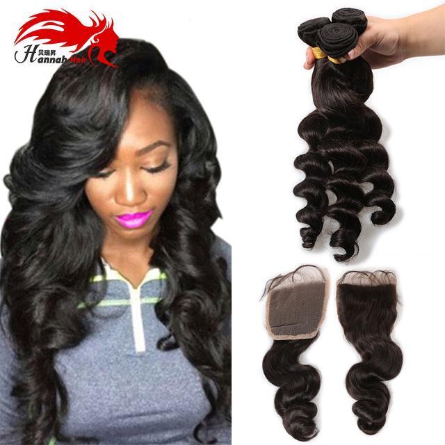 4 Bundles cheveux Hannah cheveux Produits avec fermeture brésilien Virgin cheveux dénoués waves avec dentelle fermeture totale 4pcs / Lot