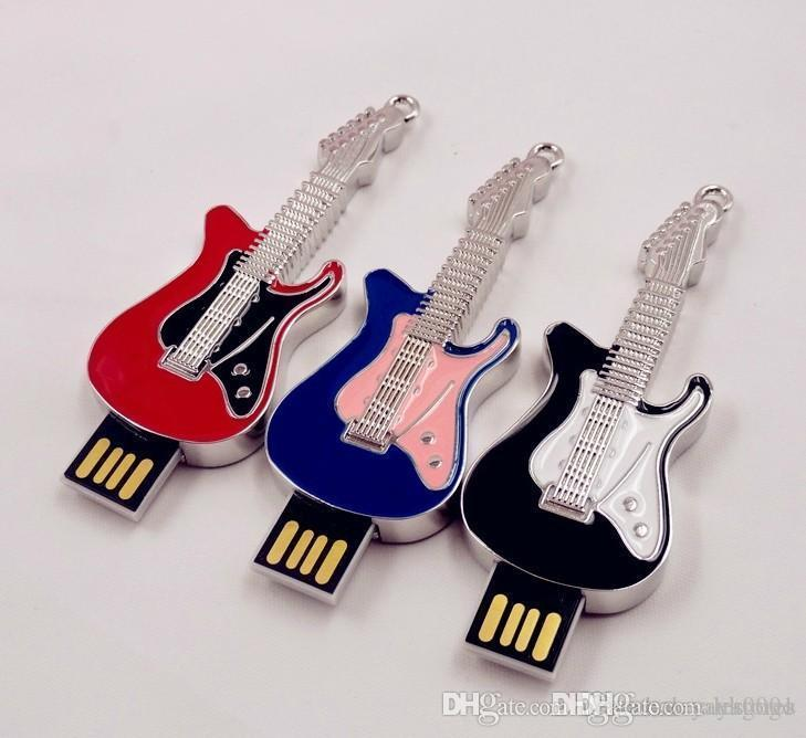 Wholesale W Retail High quality USB flash drive 4GB-64GB MINI Guita USB Flash 2.0 Memory Drive Stick pendrive 2018 new arrival multi color