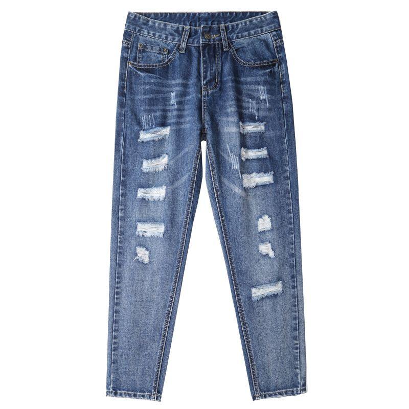 Tatsächliche koreanische Version von losen Jeans der Frauen 9 Minuten Hosen 2019 neuen highwaist net rot daddys gerade Hosen