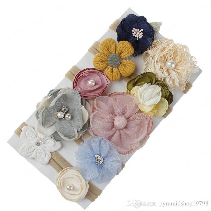 INS Christmas DIY Flower baby headbands princess baby girl headbands nylon girls designer headband designer headbands hair accessories