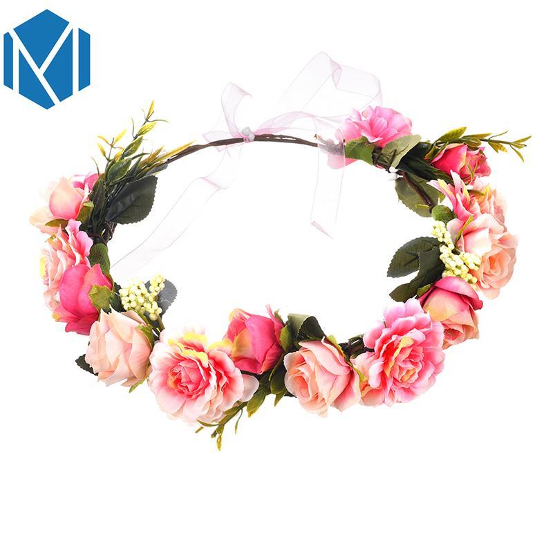 Düğün Kız hairband için Narin K MISM Kadınlar Boho Gelinlik Çiçek Çelenk Bantlar Yapay Garland Saç Aksesuarları