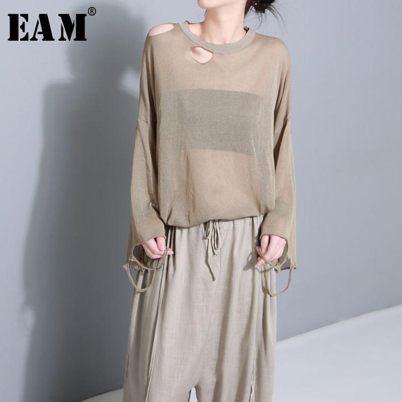 Gevşek Büyük Beden Örme tişört Kadın Moda JG231 Y200109 dışarı [EAM] 2020New İlkbahar Yaz Yuvarlak Yaka Kısa Kollu Perspektif içi boş