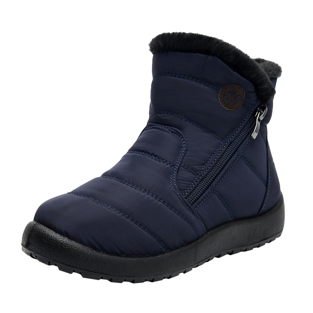 Stivali da neve di vendita calda-sagace scarpe da donna Scarpe da donna in nylon impermeabile calzature stivali caldi slip-on flat flat tubo corto scarpe casual caviglia per le donne