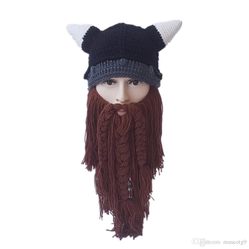 Nuevo otoño e invierno cosplay cuerno sombrero gran barba divertido creativo hombres y mujeres toro lana sombrero comercio exterior Halloween animado