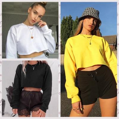 2020 new women blouse summer spring autumn tops solid color sweatshirt long sleeve T-shirt navel tops