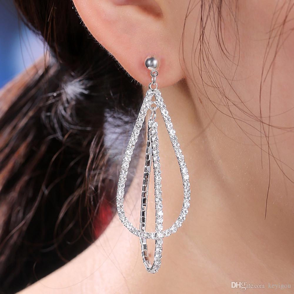 Cristal classique Goutte d'Eau Femmes Dangle Boucles d'oreilles Tempérament simples Boucles d'oreilles longues pour les femmes gouttes bijoux boucles d'oreilles