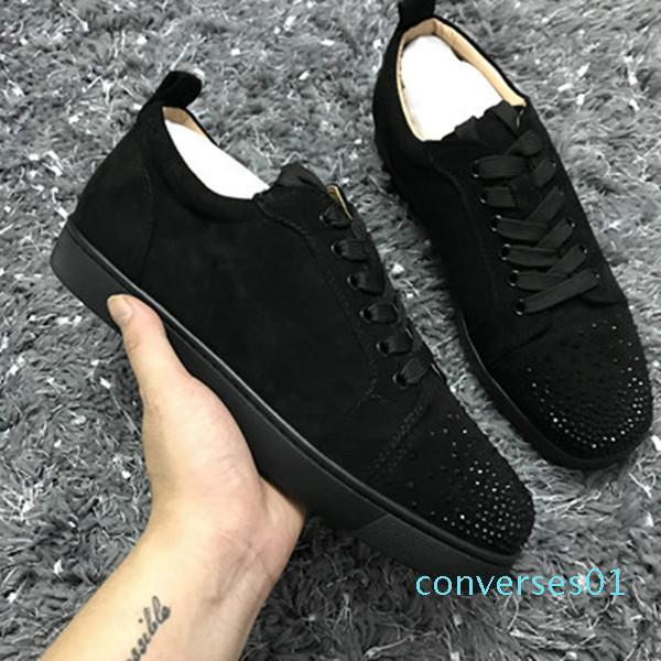 New Low Cut Suede cravado Toe Casual Flats Red Shoes fundo luxuosos para homens e mulheres partido Designer Sneakers Famoso CN01