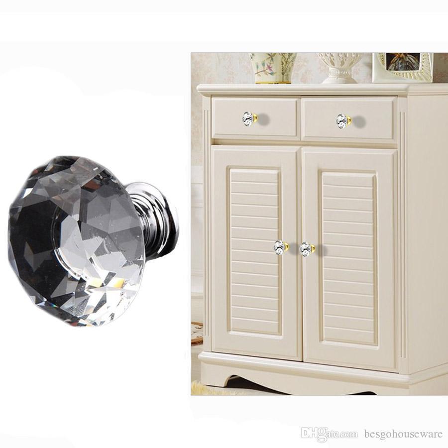 Maçanetas de gaveta Cozinha Móveis Gabinete alças Delicate Cristal Botões Cupboard puxa 30 milímetros diamante Forma Projeto Punhos BH0921 TQQ
