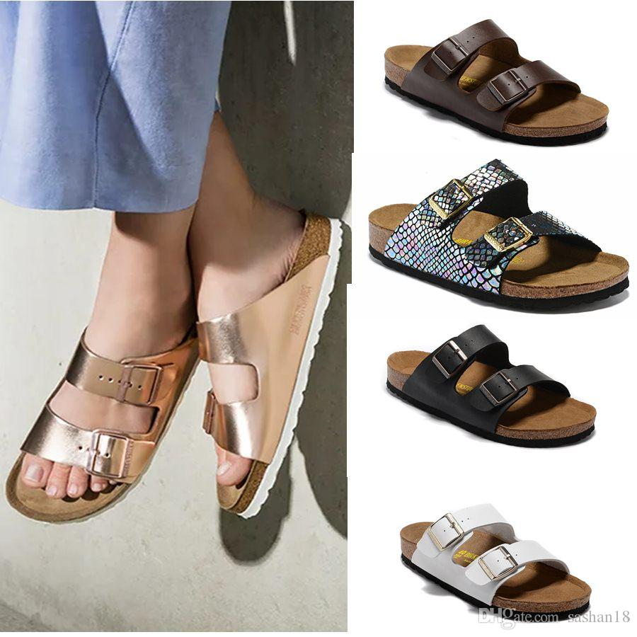 Arizona 2019 New Summer Beach Cork Slipper tongs Sandales femme Couleur mixte Slides Casual Shoes Expédition gratuite Flat 34-46