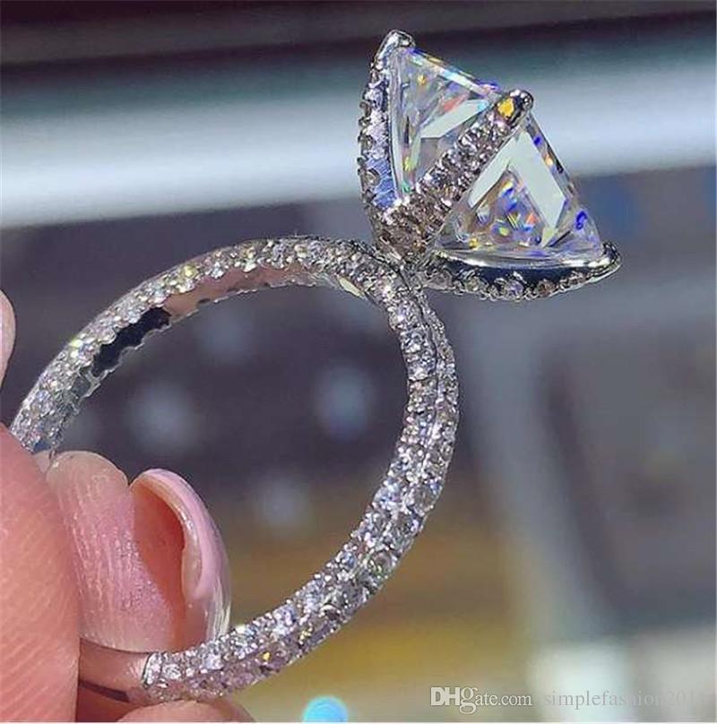 Main bague carrée en diamant 925 Sterling silver bague de fiançailles bague de mariage pour femmes hommes doigt bijoux meilleur cadeau