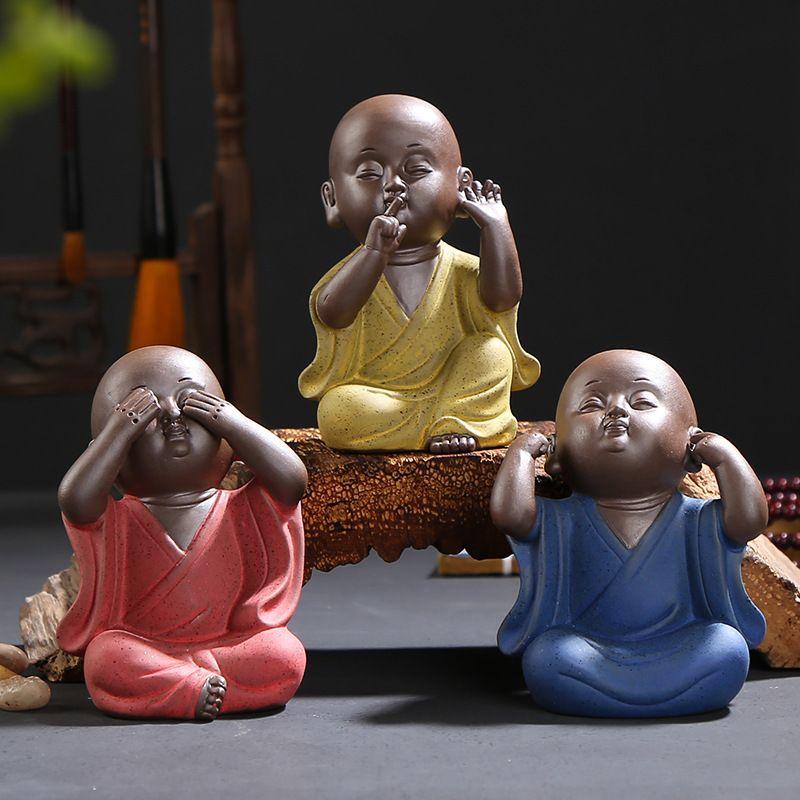 Tee Haustier drei nicht s Mönch dekorativer Keramik Zeichen setzten ein Teetisch Zubehör nach Hause für das Leben Raum Y200106 up