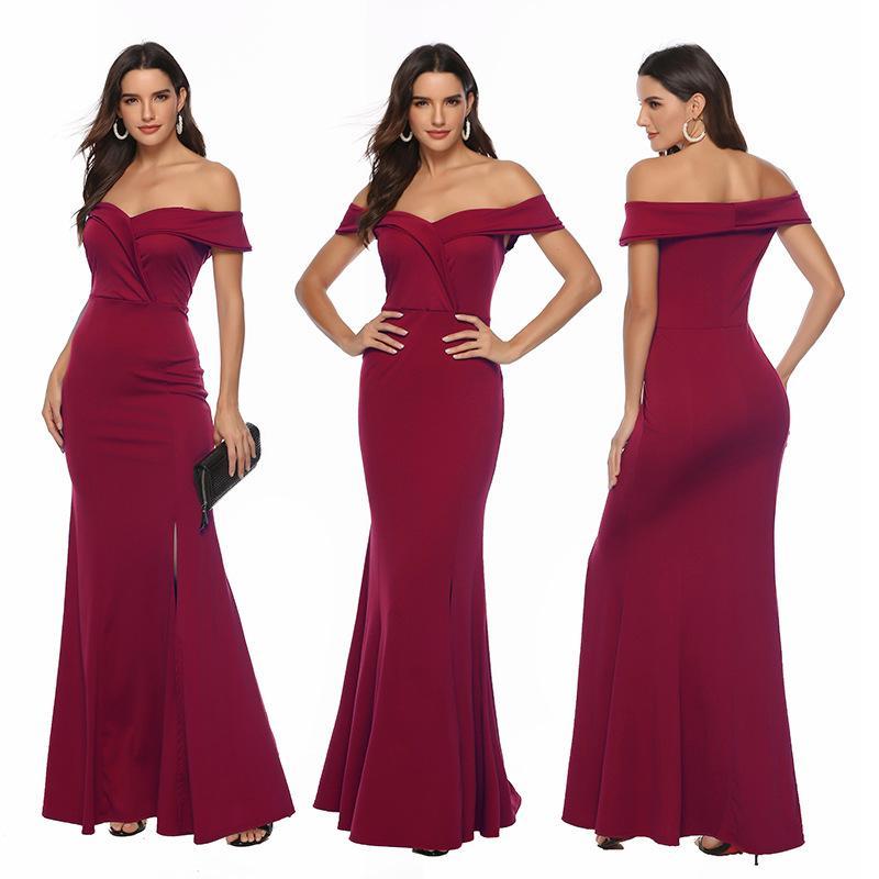 201919 primavera e verão novas mulheres com decote em V vestido quente banquete vestido de noite até o chão de uma etapa saia fora do ombro