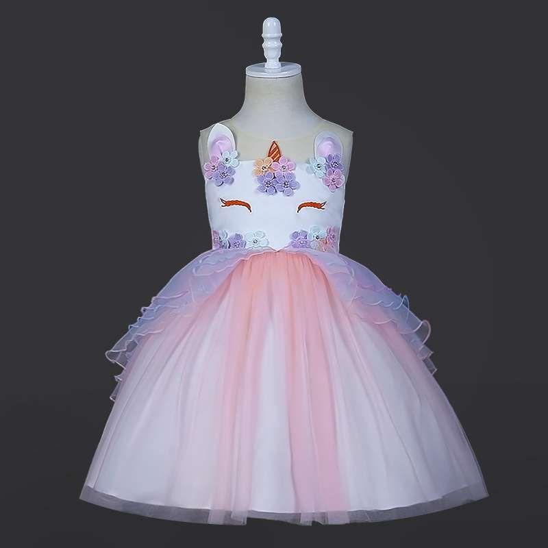 2019 de Halloween cordón del vestido de la princesa tutú de las muchachas del unicornio vestido europeo y ropa de los niños estadounidenses falda de los niños de explosión