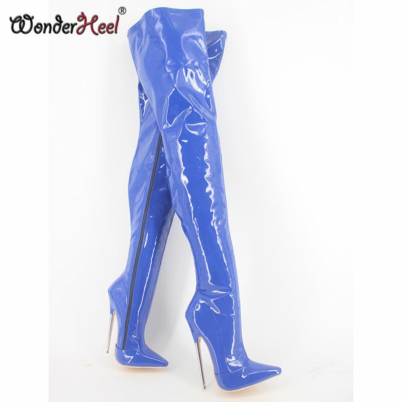 Hot Sale- New extreme high heel appr.18cm/7'' heel pointed toe sexy patent leather stiletto metal sexy fetish Crotch boots