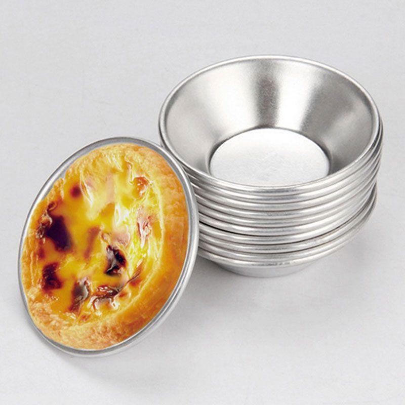 6pcs / set d'argent Oeufs Tartelettes Moule Mini tarte maison Quiche cuisson Pan biscuits Pudding moule de cuisson Outils Diy Kit aluminium
