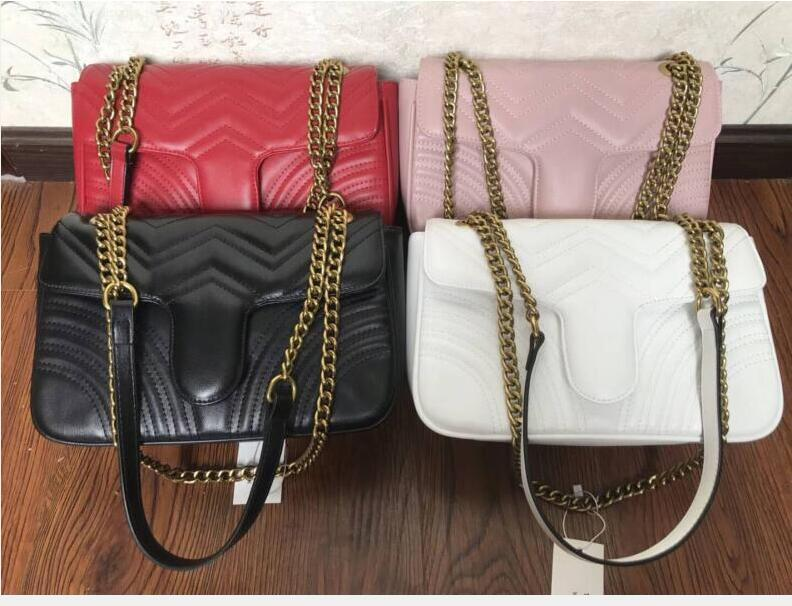 Caliente 8color Marmont bolsos de hombro mujeres de la cadena bolso crossbody bolsos famoso bolso de alta calidad collar de oro femenina bolso del mensaje # G0214