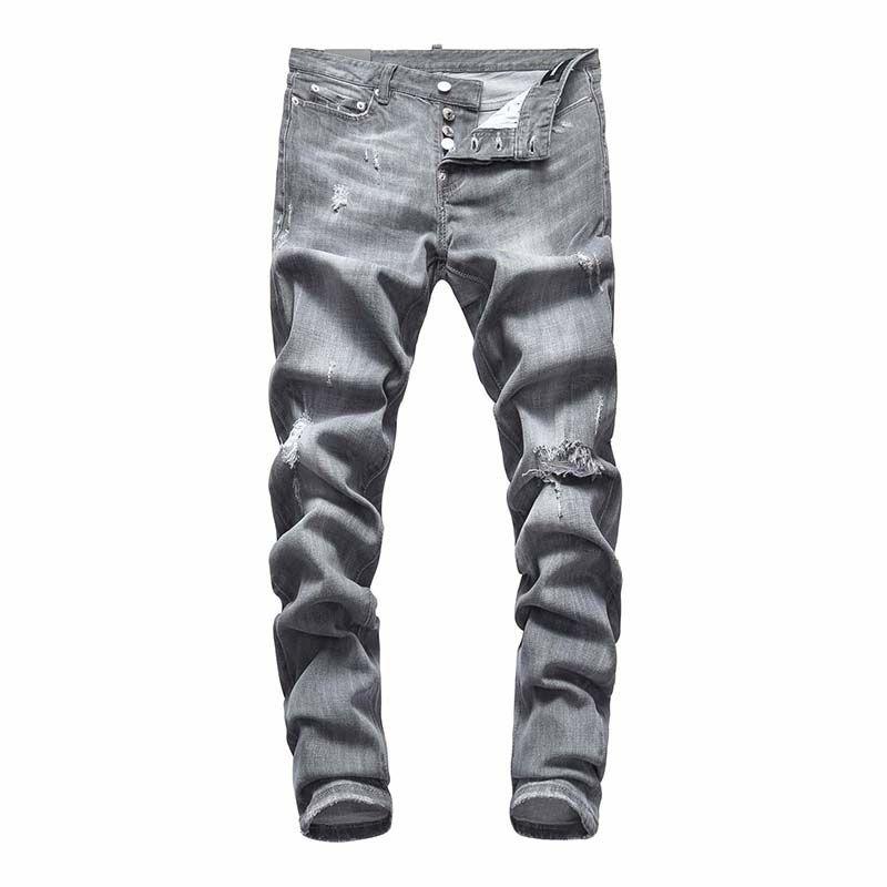 Herren Luxury Designer Jeans Black Ripping Skinny Biker Motorrad Hosen abgenutzte Guss Hommes Skinny Herren Hip Hop Denim Rock Revival