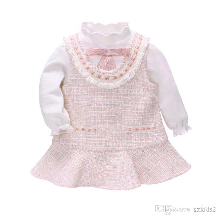 Autumn New Girl's Little Fragrance Suit Dress and Bottom Shirt dos piezas establece envío gratis rosa