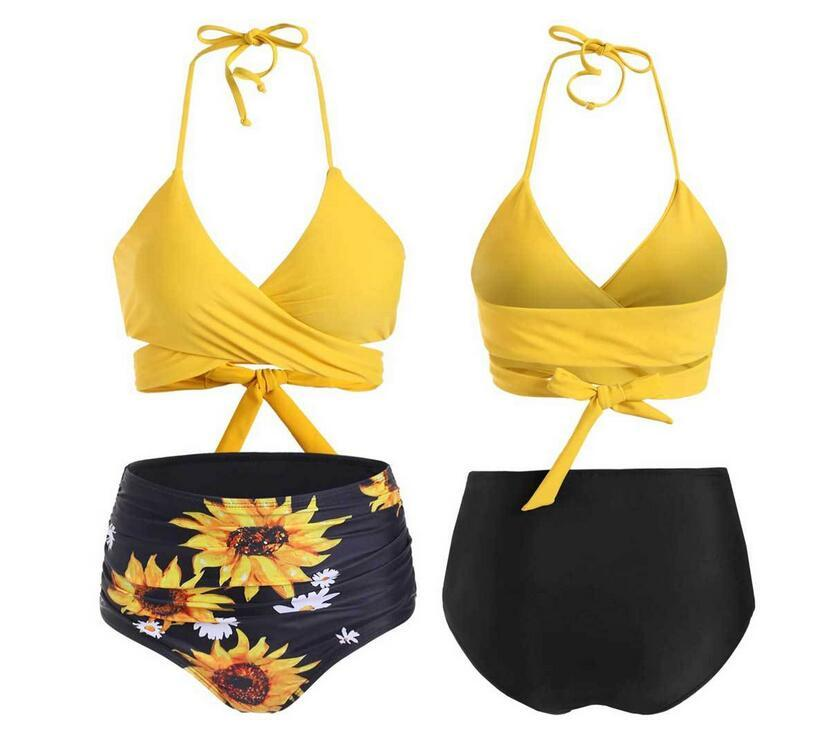 Sexy New Womens Swimwear Bikini Printed Sunflower Summer Ladies Chest Cup Tie Belt Size M-XL