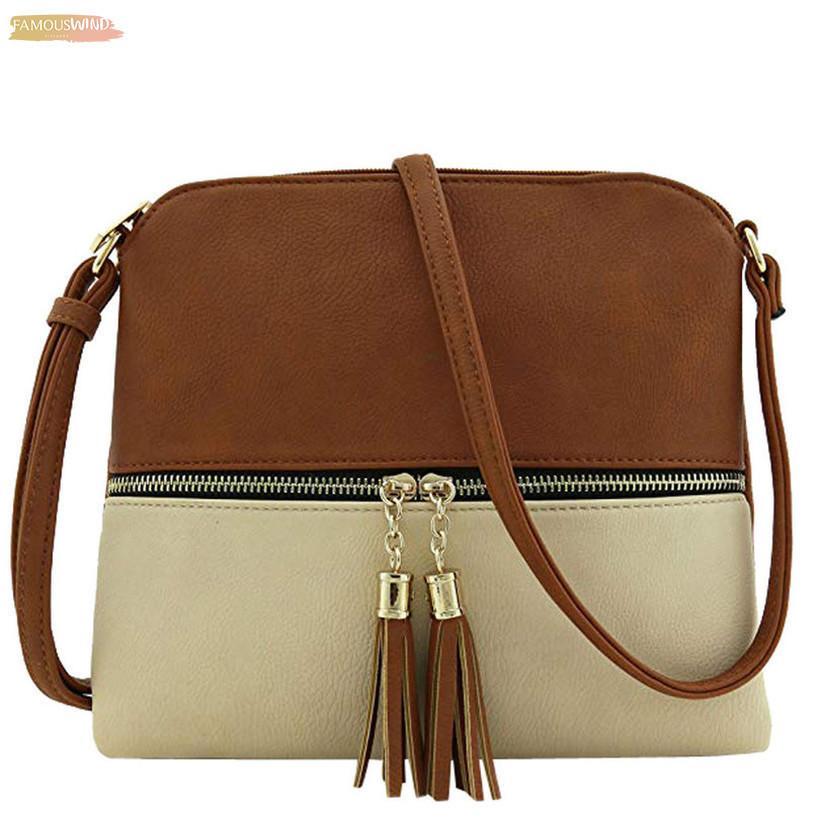 Women Messenger Bag Leather Tassel Ladies Shoulder Bag Girls Hit Color Crossbody Bag For Women 2020 Bolsa Feminina Drop Ship 25