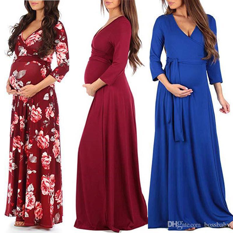 여성 꽃 출산 드레스 14 색 긴 소매 출산 임신 의류 부티크 여성 드레스 고체 레이스 V 넥 여성 드레스 060408
