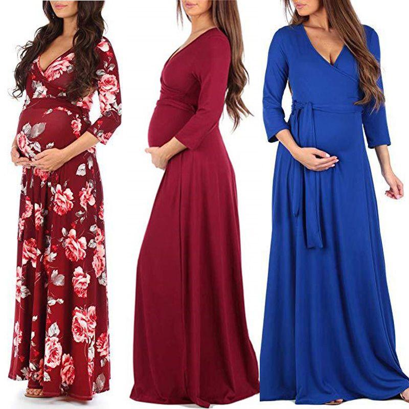 نساء الزهور الأمومة اللباس ألوان 14 كم طويل الأمومة الحوامل ملابس بوتيك فساتين النساء الصلبة الرباط الخامس الرقبة فساتين النساء 060408