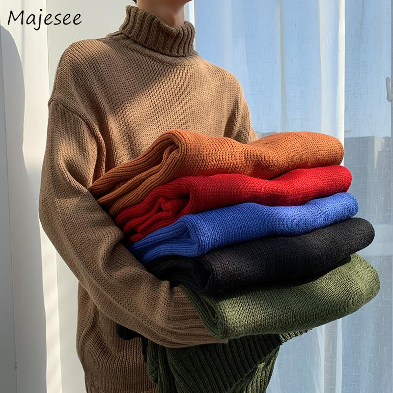 Pulls hommes solides Turtlenck manches longues Simple All-match en vrac Hommes Style Coréen Loisirs Outwear Steetwear Harajuku Ins Ulzzang