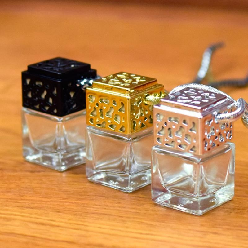 Colorful Cube Car Perfume Bottle Hanging Rearview Ornament Air Freshener For Essential Oils Diffuser Fragrance Empty Glass Bottle Pendant