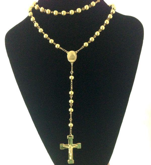 Joyería de moda Rosario de acero inoxidable Collar, Cruz Virgen de Jesús Collares Colgantes, Color de oro pesado Hombre Hombre Joyería