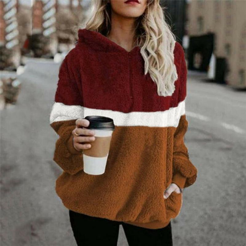 2019 invierno suéter mullido Sherpa Fleece tela escocesa sudadera remiendo lindo caliente de los pantalones casuales mujeres caen mullidas suéteres