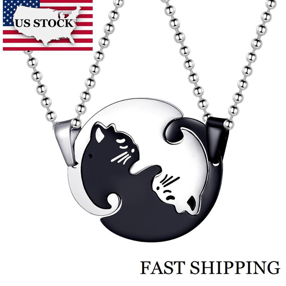 montão Colares do US STOCK Uloveido Halloween Matching Cat Colares para homens e mulheres casal colar de pingente inoxidável St ...