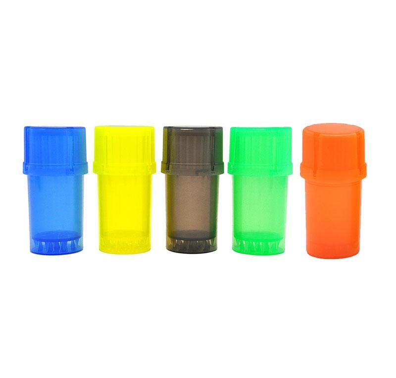 Multicolor 3 partes 40 mm Tubería de molinillo de plástico Molinillos de plástico con Contenedores medianos tubos de fumar Molinillos Molinillo de hierba Molinillo