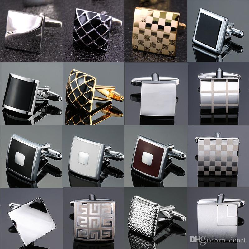 Yeni yüksek kalite pirinç kaplamalı gümüş lazer Kol Düğmeleri moda basit stil erkekler Fransız gömlek Kol Düğmeleri