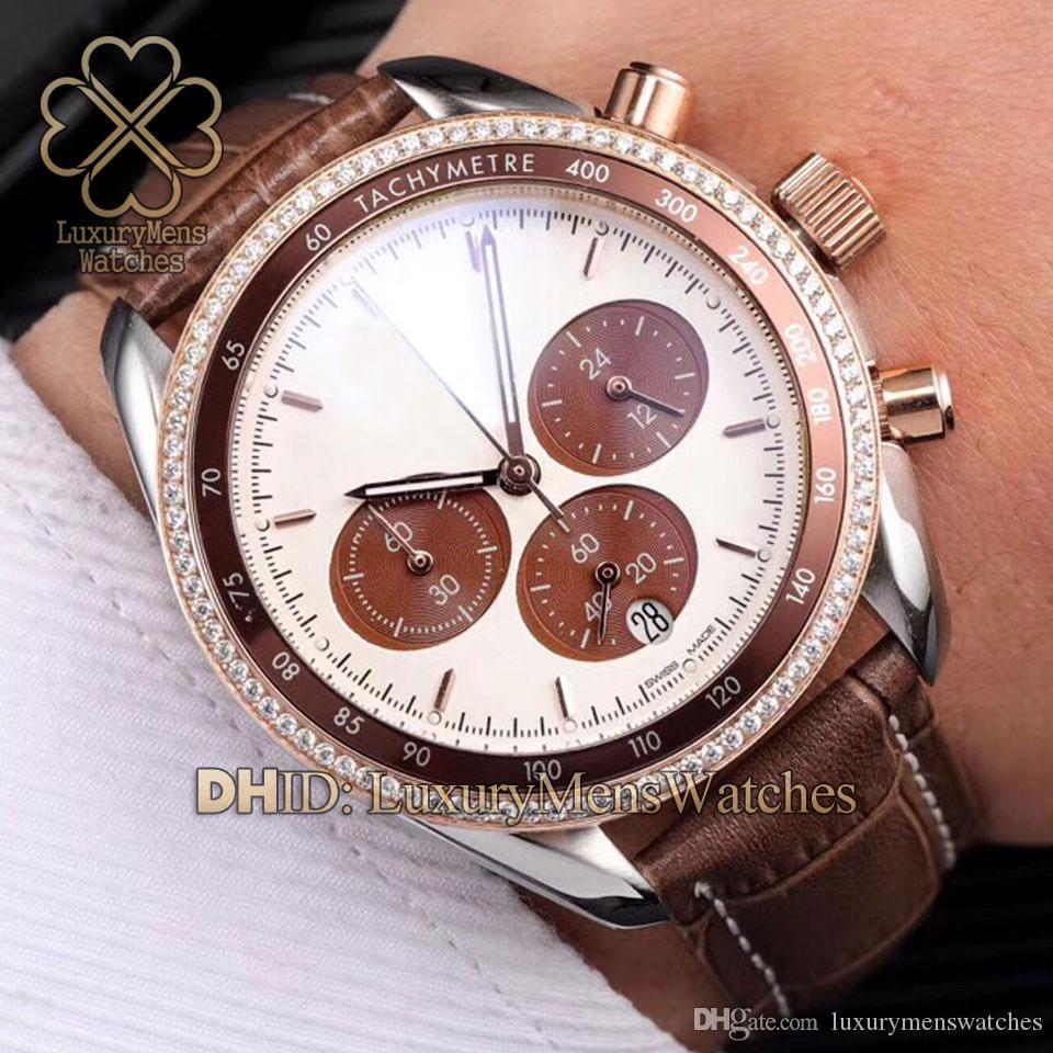 Luxury women watches quartz chronograph 324.28.38.50.02.002 multi-time zone display watch brown leather strap woman designer luxury watches