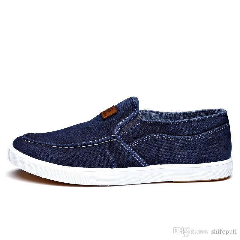 Мода Denim Мужчины Холст Обуви Мужских летние кроссовки скользят по прогулочной дышащей обуви Мокасины Chaussure Homme Zapatos De HOMBRE