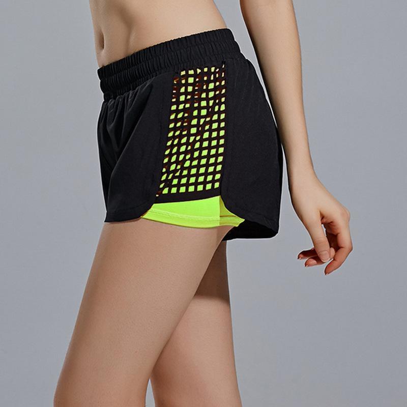 Laser Mesh Faux Deux Shorts Yoga Fitness Piece Courir Femme Défense exposition Sport Shorts Ceinture Doublure
