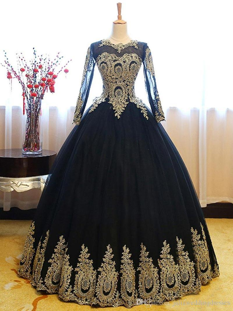 2019 Elegant Black Gold Lace Ball Gown Quinceanera Dresses Beaded Sweet 16 Year Prom Party Evening Gown Vestidos De 15 Anos QC1389