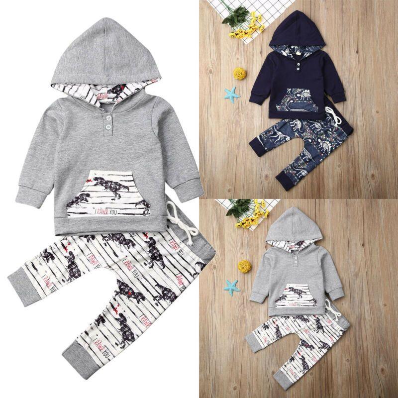 Newborn Baby Boy Dinosaur Print Hooded Tops Hoodie +Long Pants Leggings Outfits Tracksuit Toddler Kids Boys Warm Clothes 0-4Y