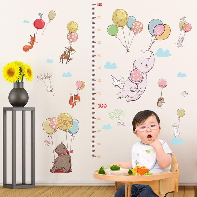 ome Decoration Stickers & Posters Stickers Cartoon Animals Elephant Balloon Height Measure Wall Sticker Home Decoration Wall Decals ...