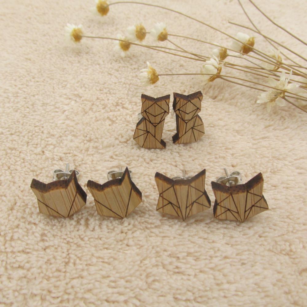 Wooden Origami Earrings