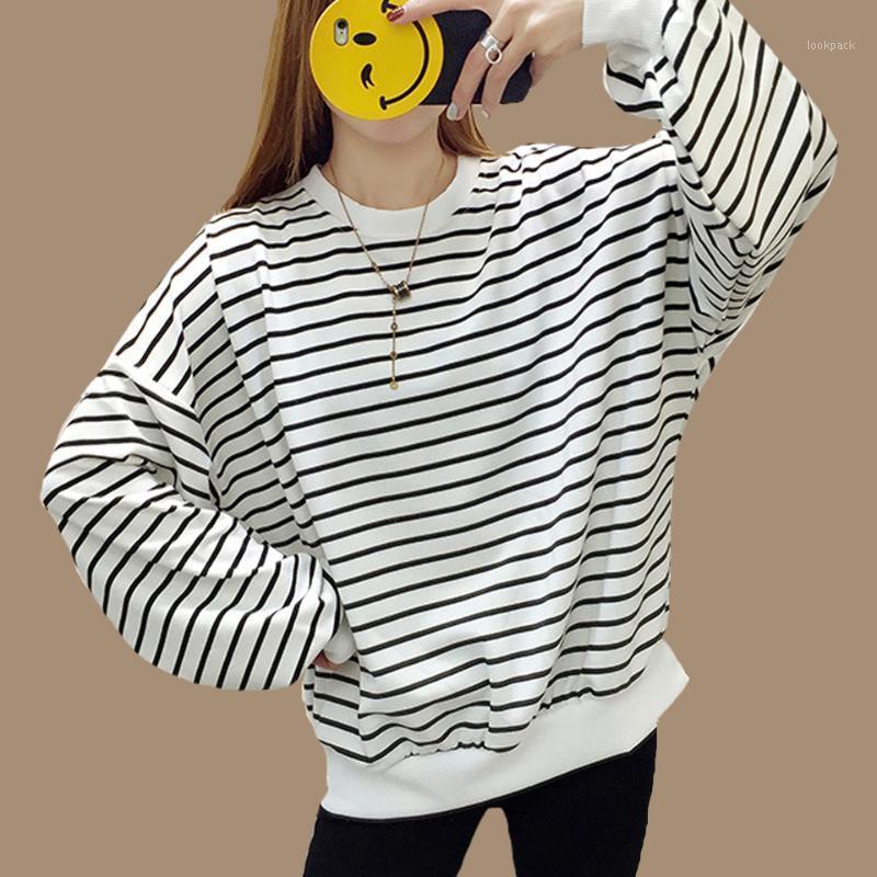 Damen Hoodies Sweatshirts Rot Schwarz Weiß Streifen Hoodie Ulzzang Langarm Poleron Mujer 2021 Frauen College Niedliche koreanische Kleidung Haraju