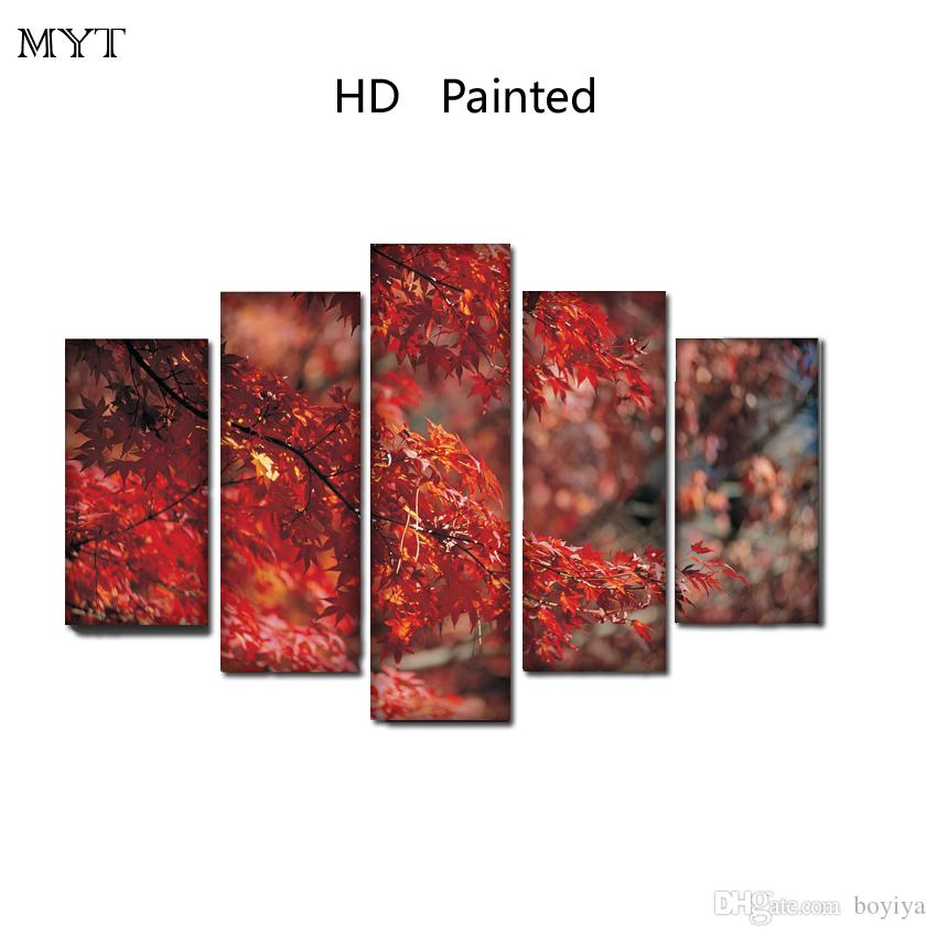 Hot sale Red maple leaf scenery unframed HD Printed Paintings Spraying image on Canvas Wall Art pictures 5 pieces For living room Home Decor