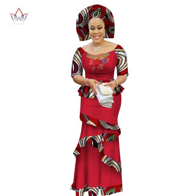 2019 BRW Özel Özel Afrika Elbise Bazin Riche Kadın Elbise Suit Yarım Kollu Üstleri ve Uzun Baskı Etek Büyük Boy M-6XL WY2412