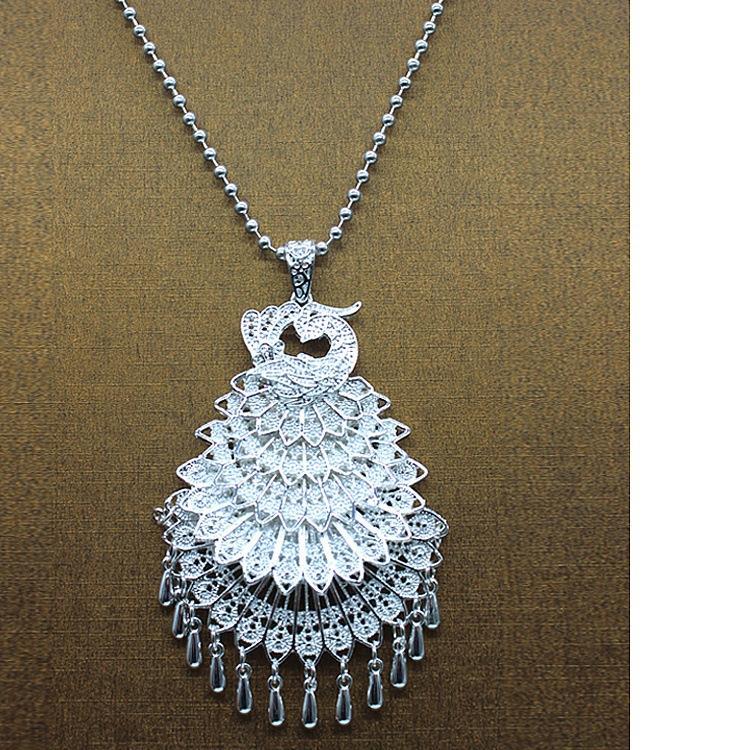 Национального стиль новой имитации серебра павлины свитер цепь ювелирных изделия ожерелье женские туристические достопримечательности горячих продажи стиль украшение